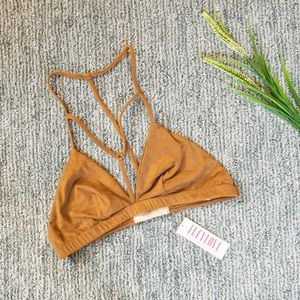 Vegan Suede Strappy Bralette Chestnut Brown